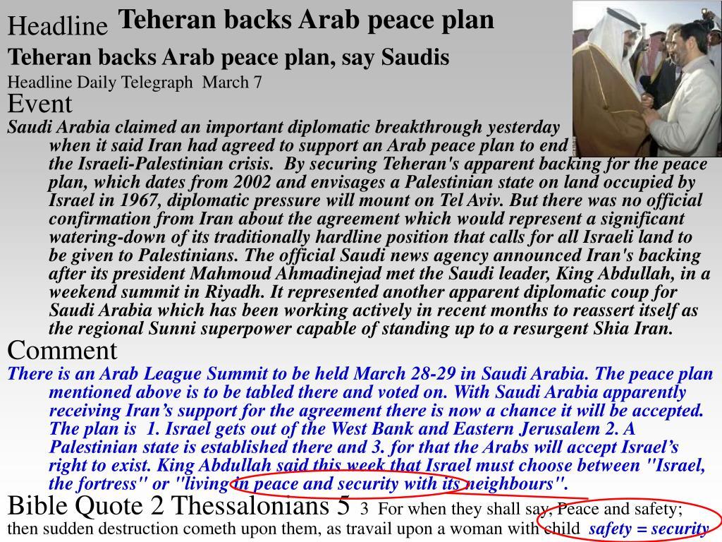 Teheran backs Arab peace plan