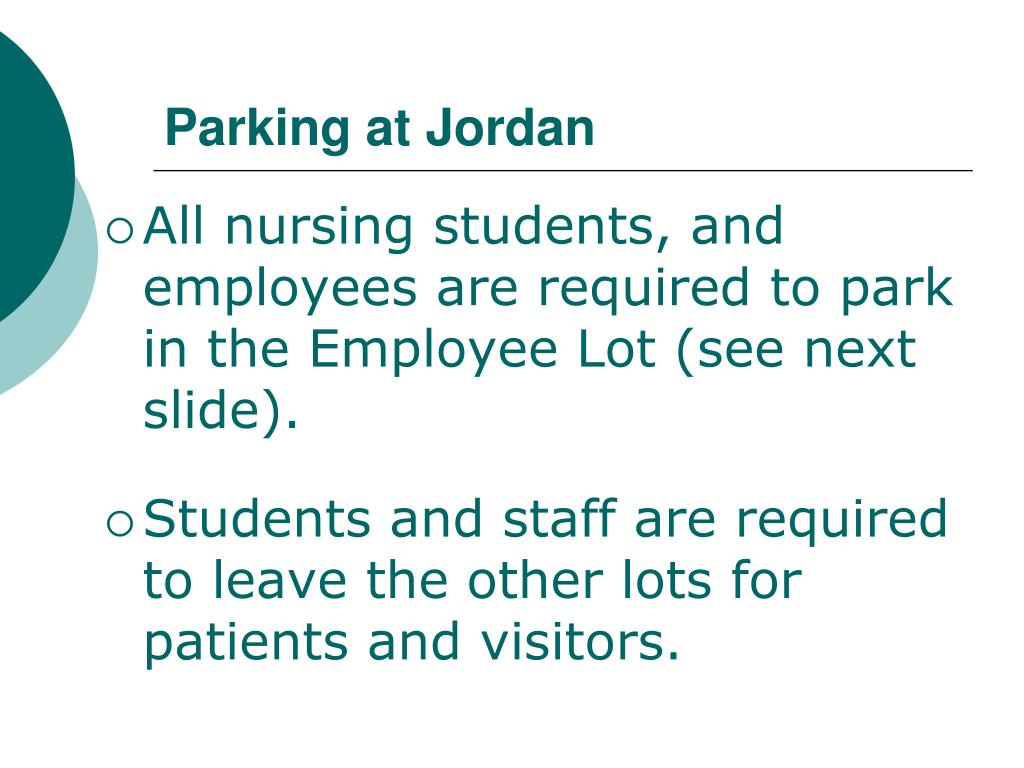 Parking at Jordan