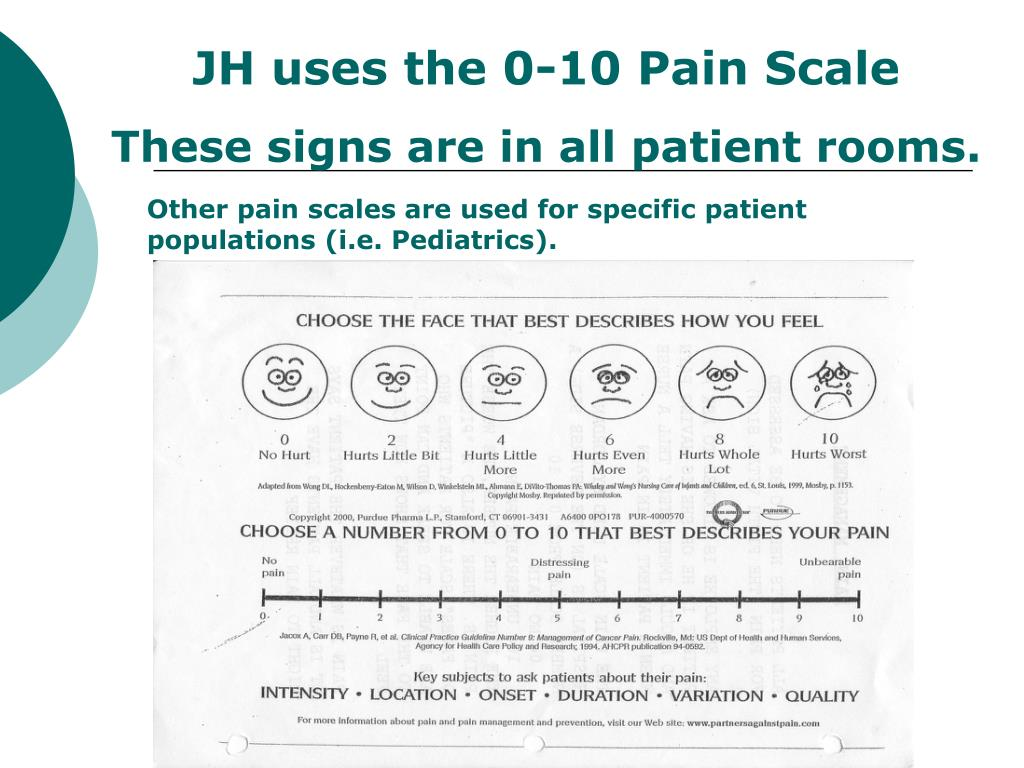 JH uses the 0-10 Pain Scale