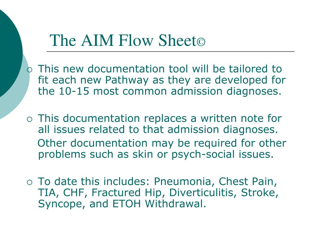 The AIM Flow Sheet