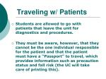 traveling w patients