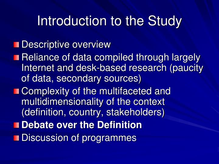 Introduction to the study