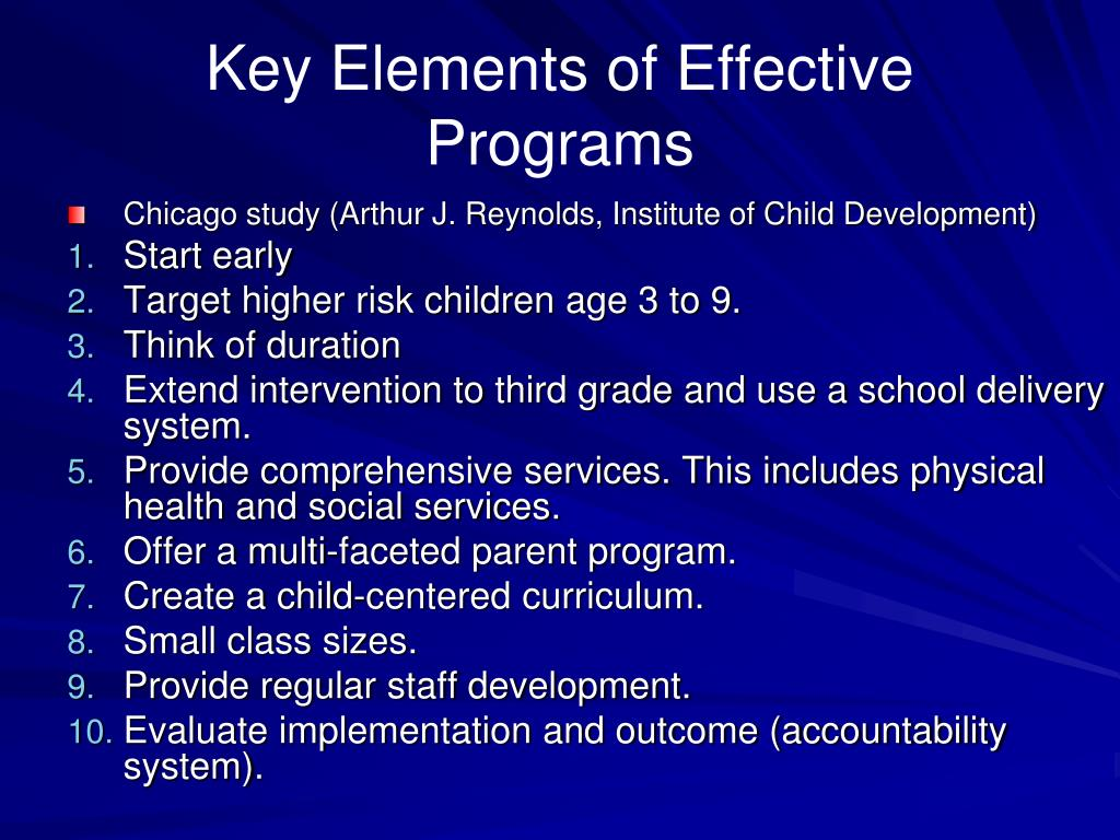 Key Elements of Effective Programs