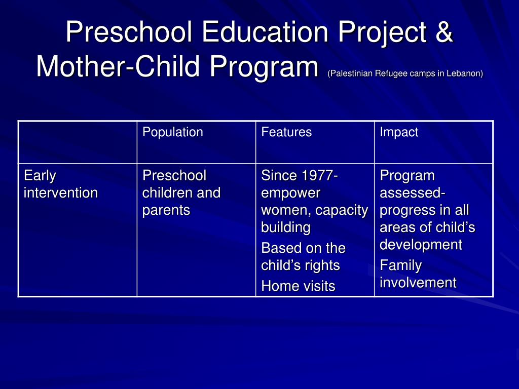 Preschool Education Project & Mother-Child Program