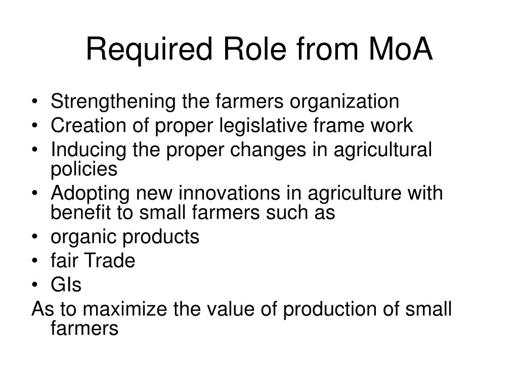 Required Role from MoA