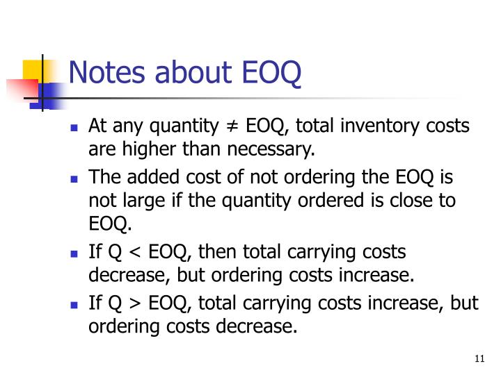 Notes about EOQ