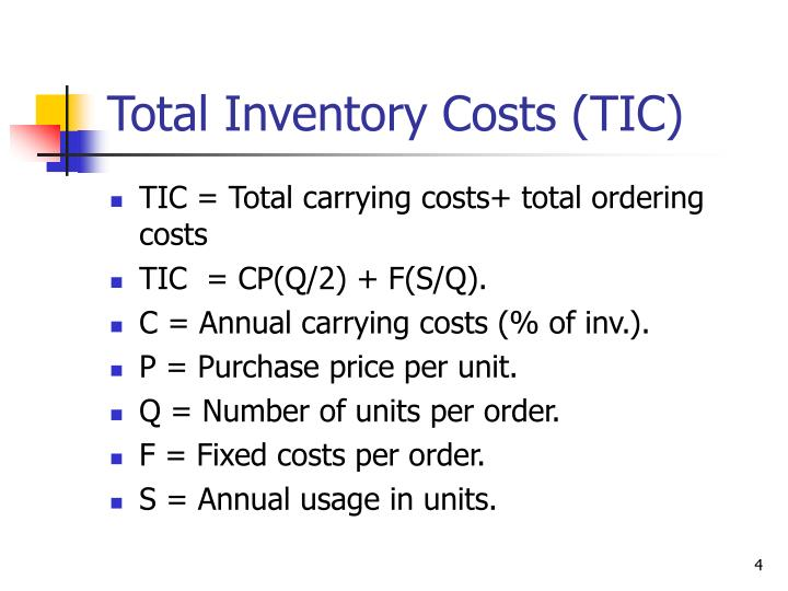 Total Inventory Costs (TIC)