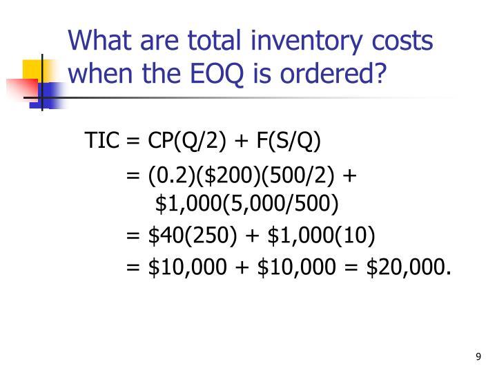 TIC= CP(Q/2) + F(S/Q)