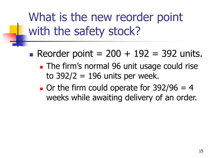 What is the new reorder point with the safety stock?