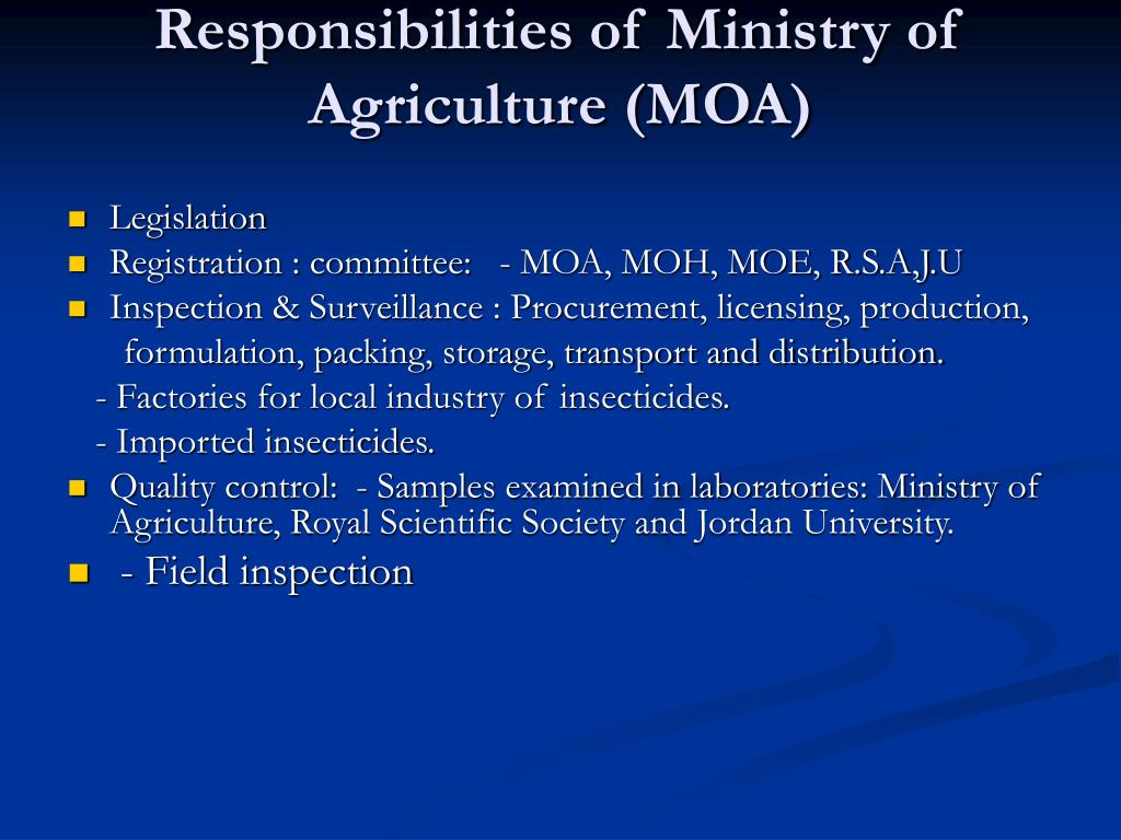 Responsibilities of Ministry of Agriculture (MOA)