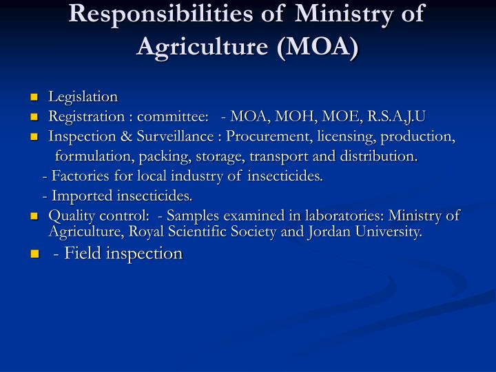 Responsibilities of ministry of agriculture moa