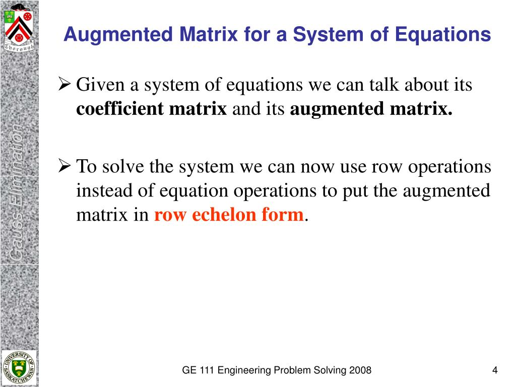 Augmented Matrix for a System of Equations