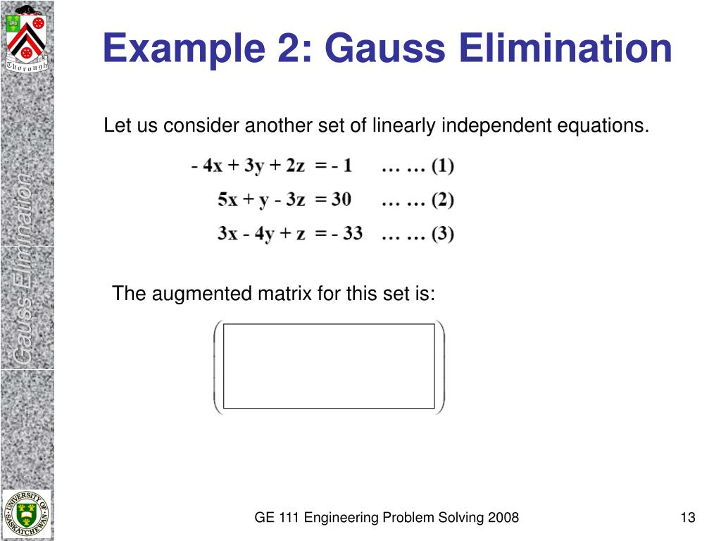 Example 2: Gauss Elimination