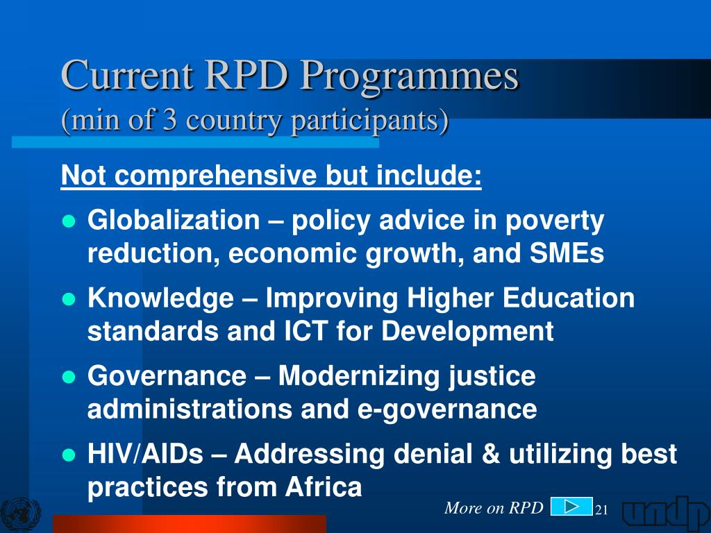Current RPD Programmes