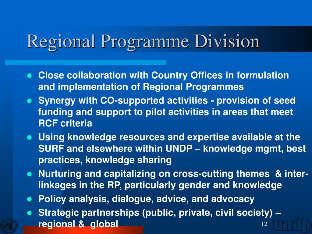Regional Programme Division