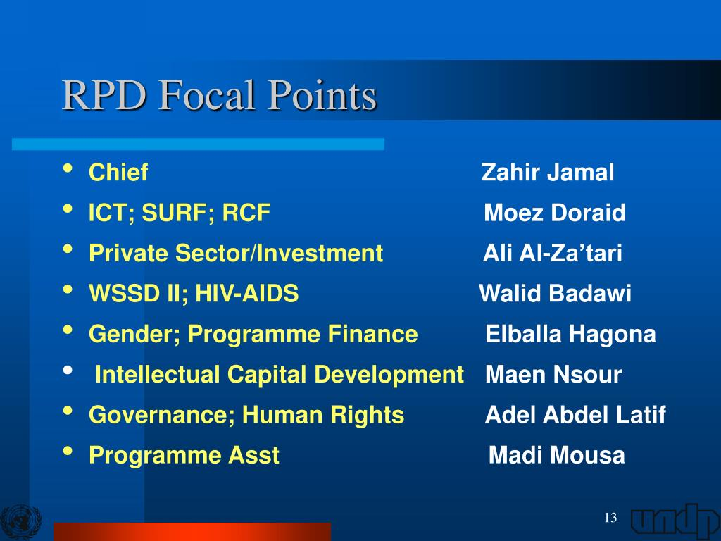 RPD Focal Points