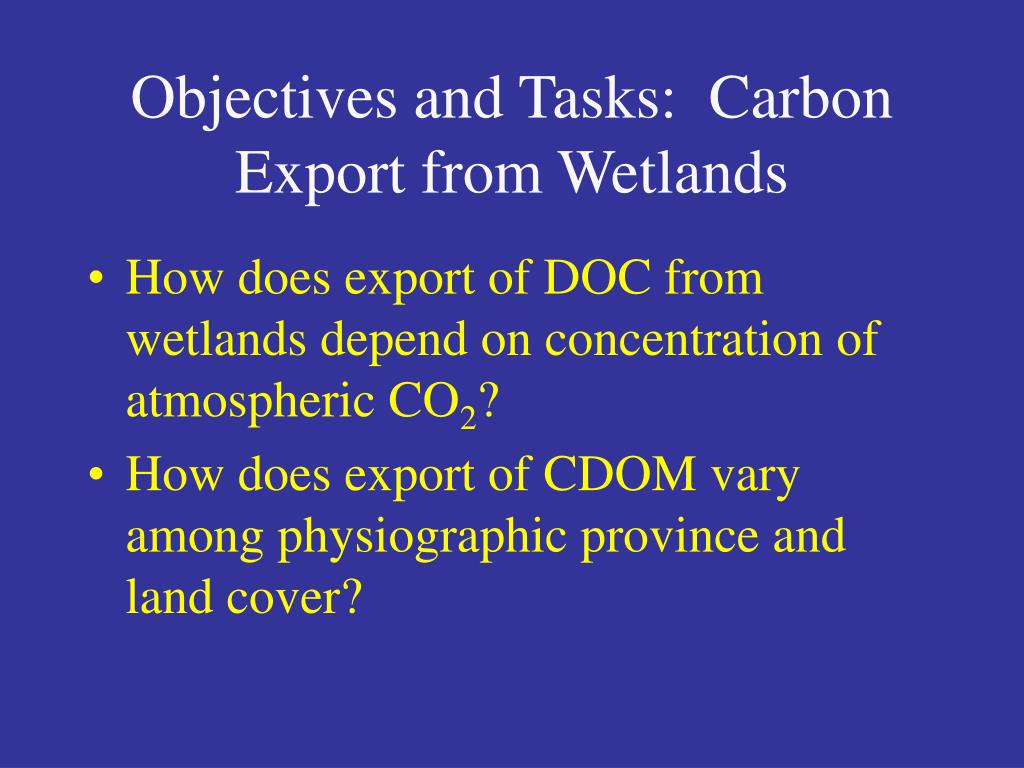 Objectives and Tasks:  Carbon Export from Wetlands