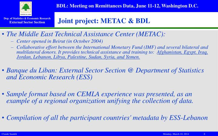 Joint project metac bdl