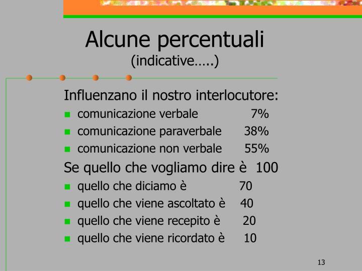 Alcune percentuali