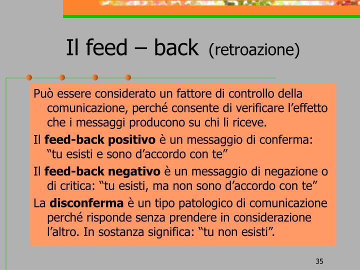 Il feed – back