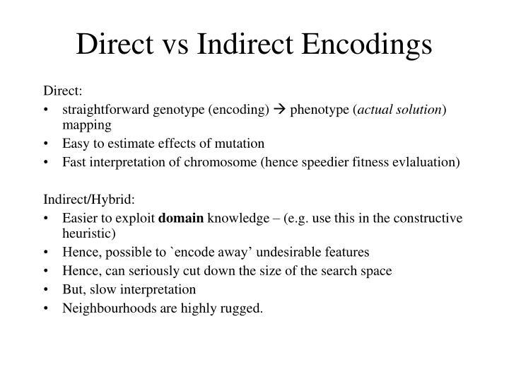 Direct vs Indirect Encodings