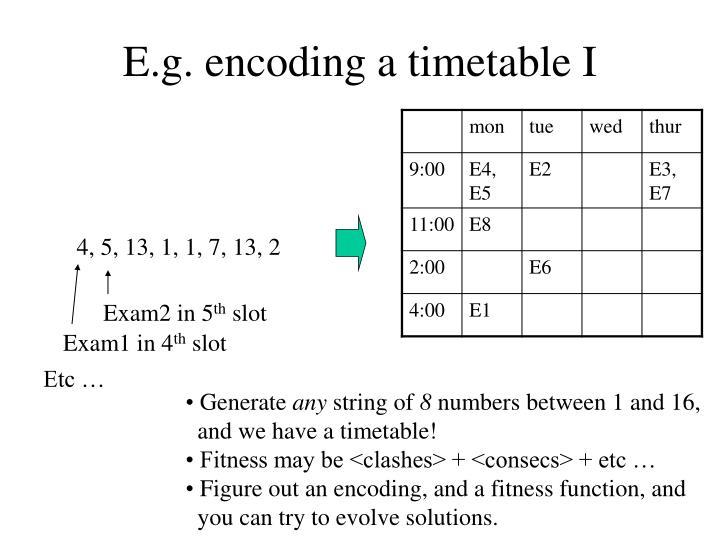 E.g. encoding a timetable I