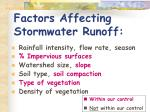factors affecting stormwater runoff