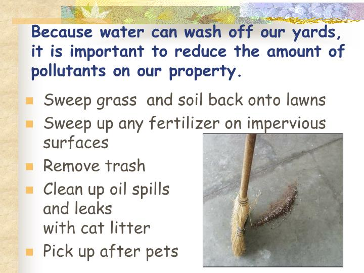 Because water can wash off our yards,          it is important to reduce the amount of pollutants on our property.