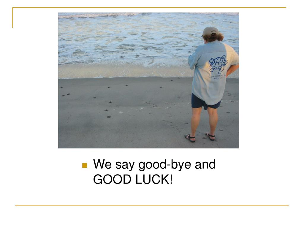 We say good-bye and GOOD LUCK!