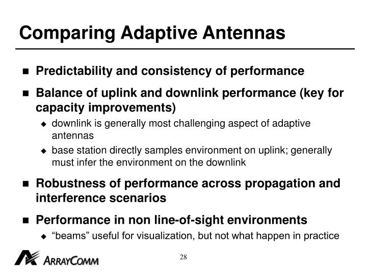 Comparing Adaptive Antennas