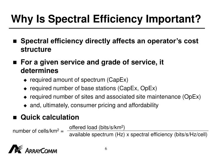 Why Is Spectral Efficiency Important?