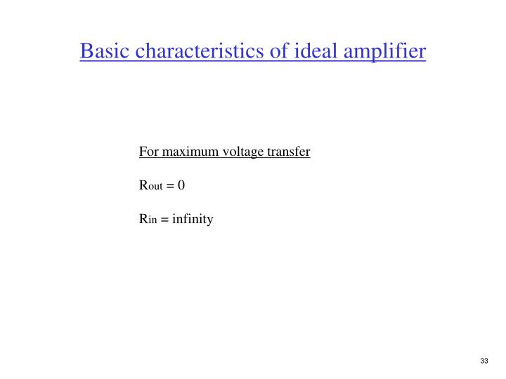 Basic characteristics of ideal amplifier