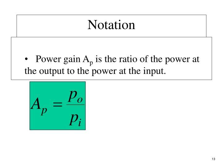 Power gain A