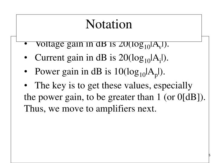 Voltage gain in dB is 20(log