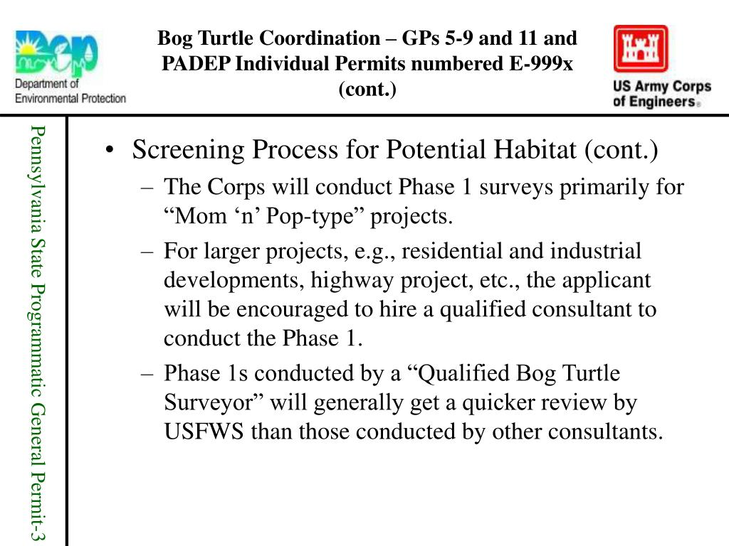 Bog Turtle Coordination – GPs 5-9 and 11 and PADEP Individual Permits numbered E-999x (cont.)