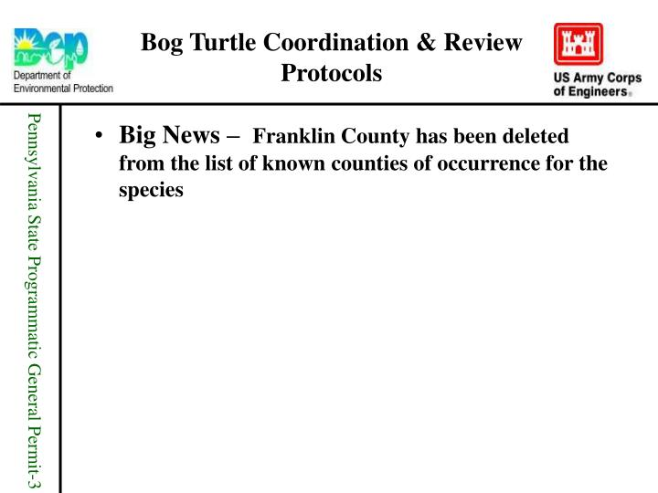 Bog turtle coordination review protocols