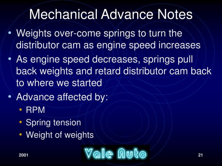 Mechanical Advance Notes