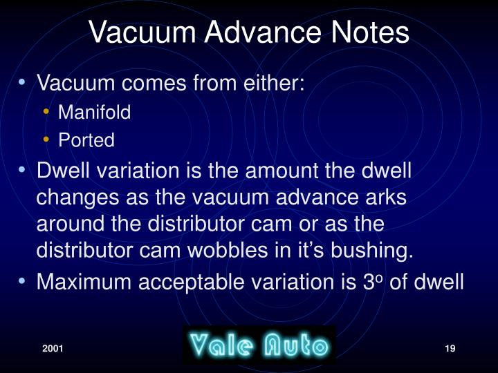 Vacuum Advance Notes