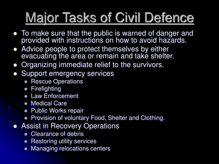 Major Tasks of Civil Defence