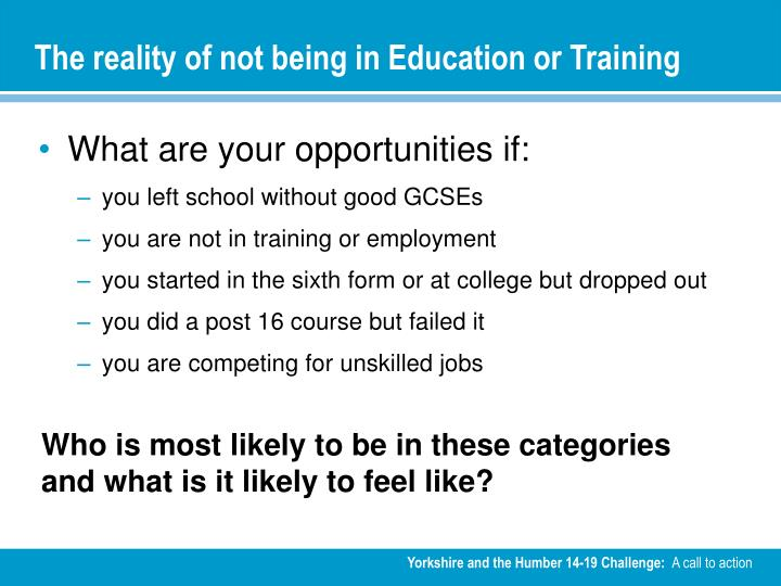 The reality of not being in Education or Training