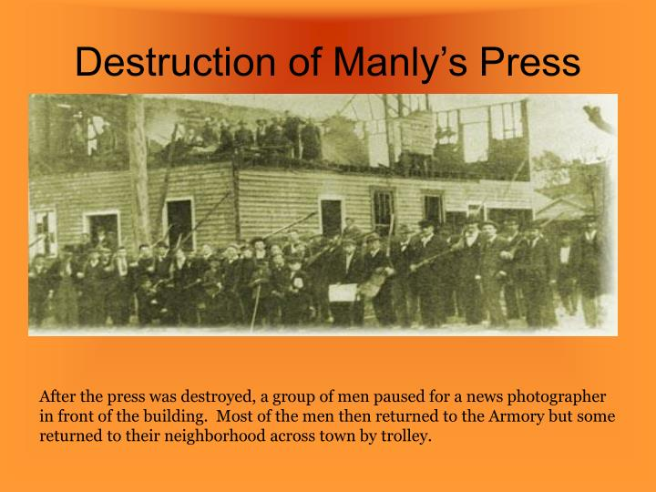 Destruction of Manly's Press