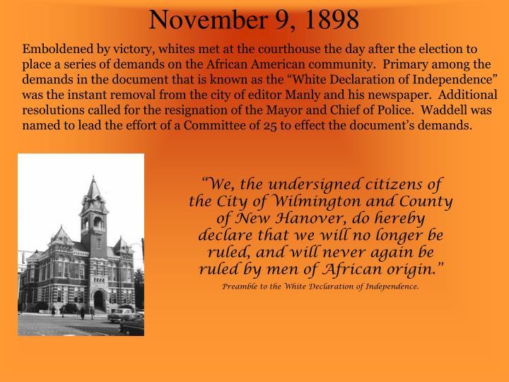 November 9, 1898