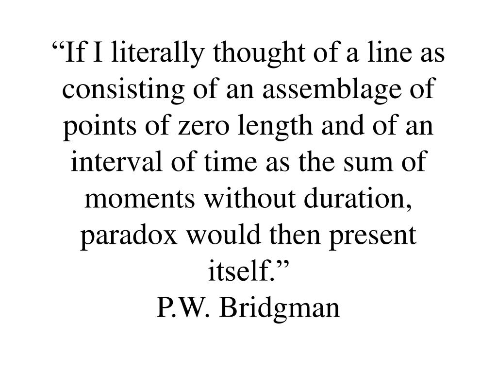 """If I literally thought of a line as consisting of an assemblage of points of zero length and of an interval of time as the sum of moments without duration, paradox would then present itself."""