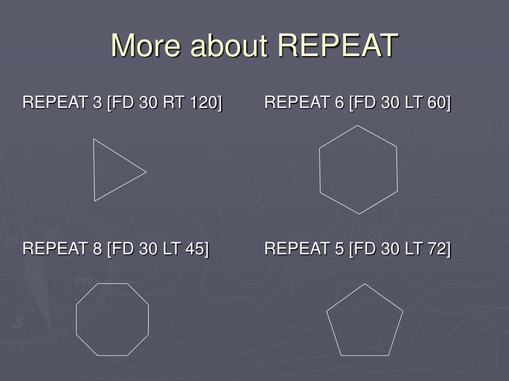 REPEAT 3 [FD 30 RT 120]