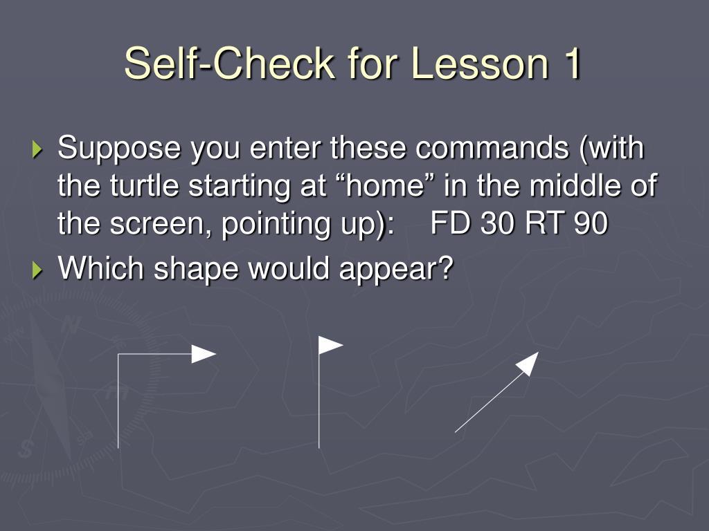 Self-Check for Lesson 1