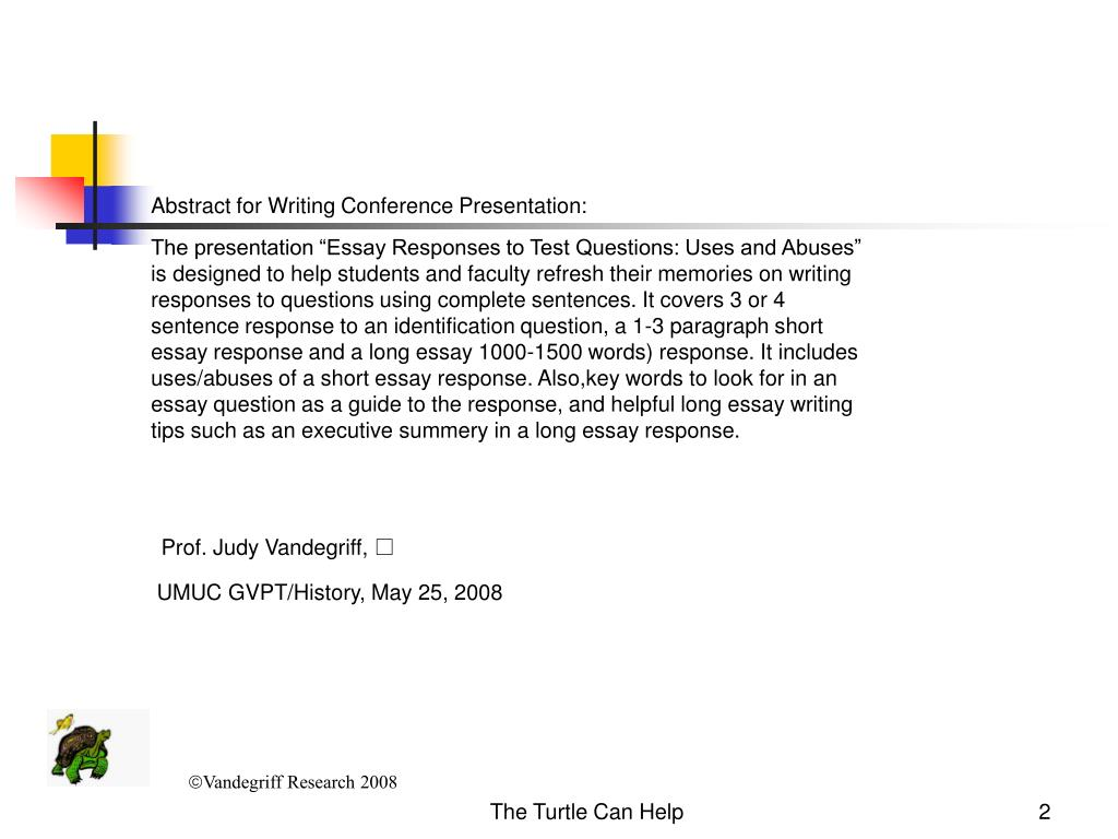 Abstract for Writing Conference Presentation: