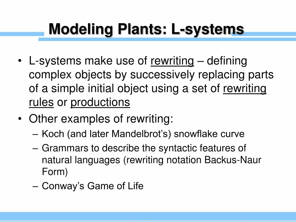 Modeling Plants: L-systems