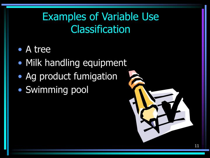 Examples of Variable Use Classification