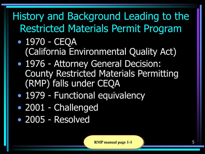 History and Background Leading to the Restricted Materials Permit Program