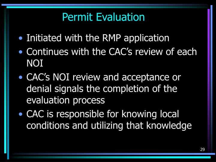 Permit Evaluation